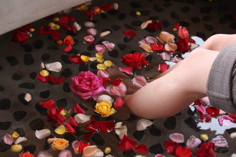 バラの足湯